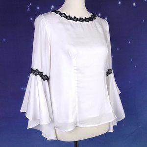 Nanette Lepore Flutter Sleeve White Top Size Med
